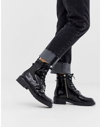AllSaints Donita Leather Lace Up Hiking Boot With Buckle - Black