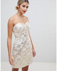 Glamorous Strapless Jacquard Dress - Metallic