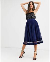 Little Mistress Tulle Midi Skirt-navy - Blue