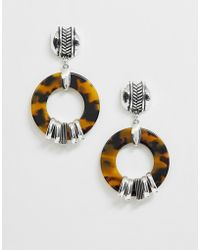 ASOS Earrings With Tortoiseshell Ring And Wrapped Effect - Metallic