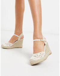 New Look Светлые Туфли На Танкетке -белый
