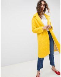 Mango - Yellow Brushed Car Coat - Lyst