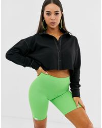 Public Desire Crop Sweatshirt With Contrast Stitching - Black