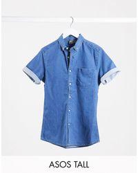 ASOS - Camisa slim y elástica - Lyst