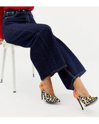 ASOS - Wide Fit Putty Pointed High Heeled Court Shoes In Leopard Floral Print - Lyst