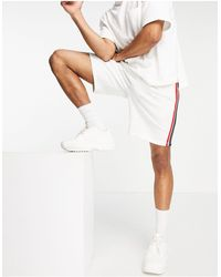 ASOS Oversized Jersey Shorts With Side Tape - White