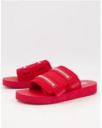 Versace Jeans Couture Красные Шлепанцы На Липучке -красный