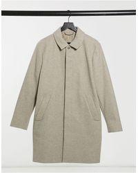 TOPMAN Faux Wool Mac - Brown