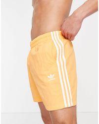 adidas Originals Adicolor Three Stripe Swim Shorts - Orange