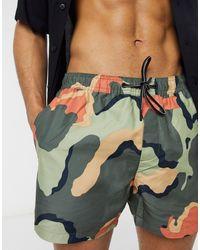 TOPMAN Recycled Swim Shorts With Camo Print - Orange