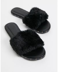 Pimkie Fur Sandal - Black