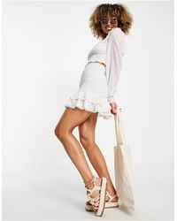 River Island Embroidered Co-ord Crop Beach Top - White