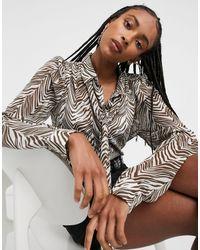 Vila Overhemd Met Gestrikte Taille Met Print - Meerkleurig