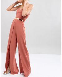 ASOS Skinny Full Metal Rose Gold Waist Belt - Pink