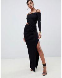 1fe68a1de9b0e6 ASOS Long Sleeve Maxi Dress with Belt in Black - Lyst