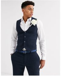 ASOS Wedding Super Skinny Suit Waistcoat - Blue