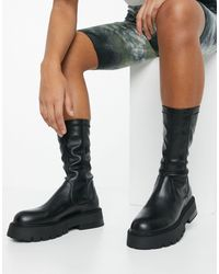 Bershka Faux Leather Sock Boot With Chunky Sole - Black