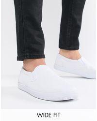 ASOS Wide Fit Slip On Plimsolls - White