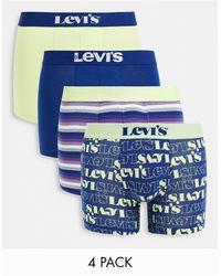 Levi's 4 Pack Print Stripe And Plain Boxer Briefs - Green