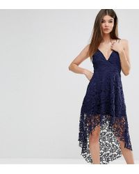 Love Triangle Wrap Front Lace Dress With High Low Hem - Blue