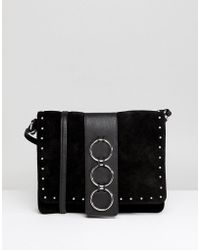 ASOS DESIGN - Asos Leather And Suede Ring Detail Soft Cross Body Bag - Lyst