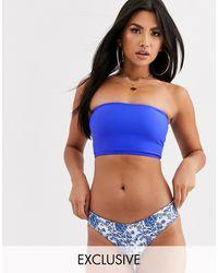 Kulani Kinis - Esclusiva - Top bikini a corpetto a fascia blu cobalto - Lyst