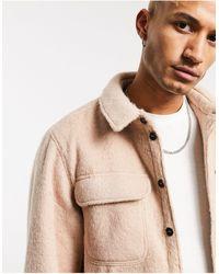 ASOS – Oversize-Hemdjacke mit Wollmischung mit Steppfutter - Natur