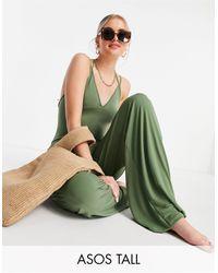 ASOS Asos Design Tall Wide Leg Slinky Beach Jumpsuit - Green