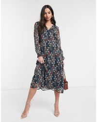 Ichi Floral Midi Dress-multi - Black
