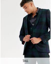 Twisted Tailor Tall - Giacca da abito super skinny verde a quadri grandi