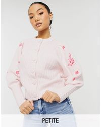 Y.A.S Petite Exclusive Cardigan With Embroidered Sleeves - Pink