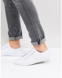 Fred Perry - Kingston Leather Plimsolls In White - Lyst