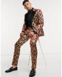 Twisted Tailor Бордовые Бархатные Брюки С С Золотистым Принтом В Стиле Барокко -красный