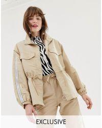 Monki - Oversized Utility Jacket With Drawstring In Beige - Lyst