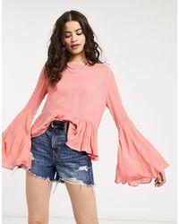 Glamorous Top avec ourlet à volants - Corail - Rose