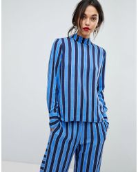 Y.A.S - High Neck Striped Woven Top - Lyst