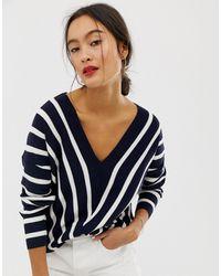ONLY Vertical Stripe Wide V Neck Sweater - Blue