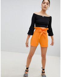 PrettyLittleThing - Paper Bag Waist Shorts - Lyst