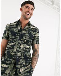New Look Leafy Camo Ripstop Shirt - Black