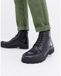 Farah Militaire Jeans Veterlaarzen Met Brede Zool - Zwart