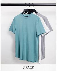 ASOS 3 Pack Longline T-shirt With Side Splits - Blue