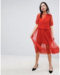 ASOS DESIGN - Asos Tulle Midi Dress With Ruching - Lyst