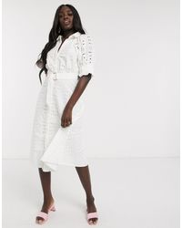 ASOS - Vestito camicia midi bianco - Lyst