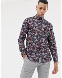 Ted Baker Рубашка С Цветочным Принтом - Темно-синий