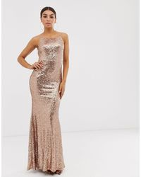 Club L London Square Neck Sequin Maxi Dress - Metallic