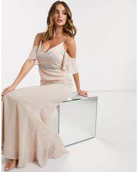 Missguided Светло-розовое Платье Для Подружки Невесты С Расклешенными Рукавами -розовый