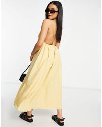 Missguided Vestido midi amarillo