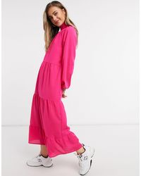 Lola May Trapeze Tiered Maxi Dress With Tie Neck - Pink