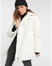 TOPSHOP Белая Куртка Из Искусственной Овечьей Шерсти -черный Цвет