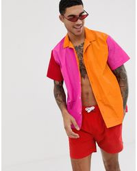 ASOS Chemise oversize coupe droite avec effet coupé-cousu - Orange et rose (ensemble)